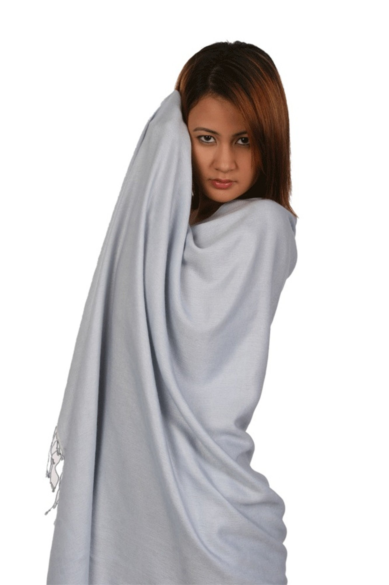 Scarf/Shawl/Wrap/Stole/Pashmina Shawl in solid color from Cashmere Pashmina Group (Regular Size) - Silver Grey