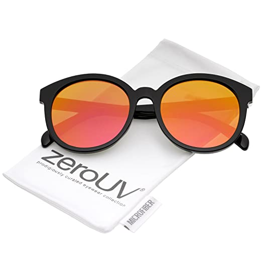 42b453d72b4e zeroUV - Oversize Super Flat Colored Mirror Lens Round Sunglasses 54mm  (Black Magenta-