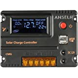 Anself 10A 12V 24V LCDソーラー充電コントローラ ラソーラーパネル 自動調整スイッチ 過負荷保護 温度補償