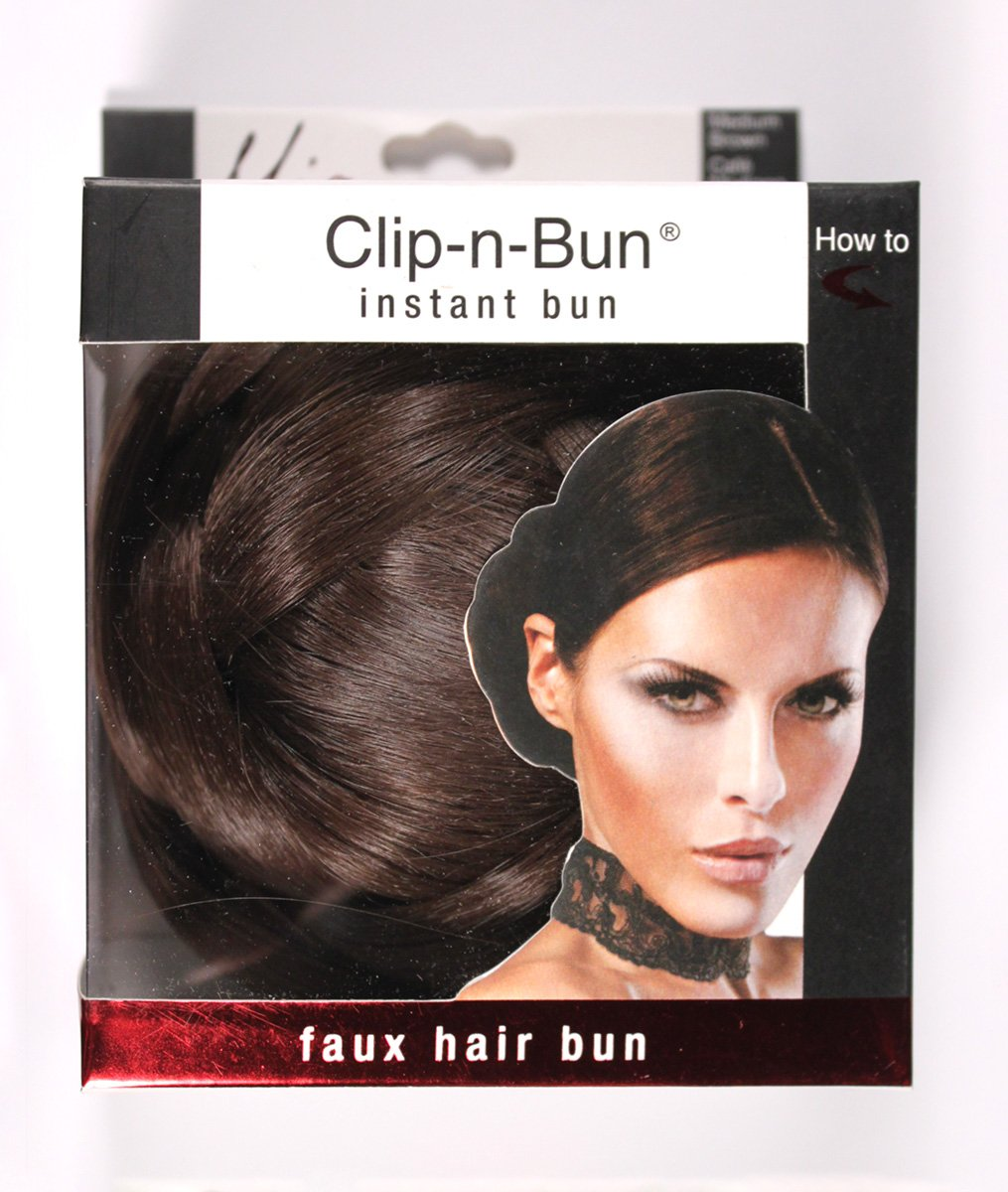 Mia Clip-n-Bun-Instant Bun That Clips On! Made of Synthetic/Faux Wig Hair-Medium Brown Color-Measures 5'' Diameter x 2.5'' Deep (1 piece per package)