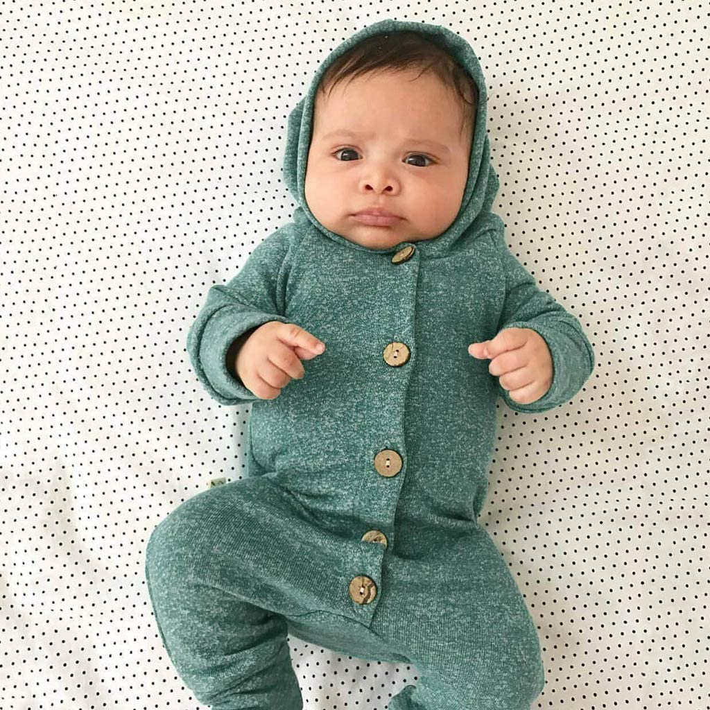 Iuhan 0-24Months Infant Baby Boys Girls Long Sleeve Button Hooded Jumpsuit Romper Clothes