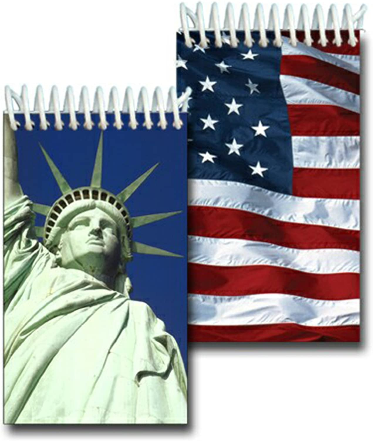 "Lenticular 2x4"" 144 Page Spiral Notebook Statue Liberty American Flag"