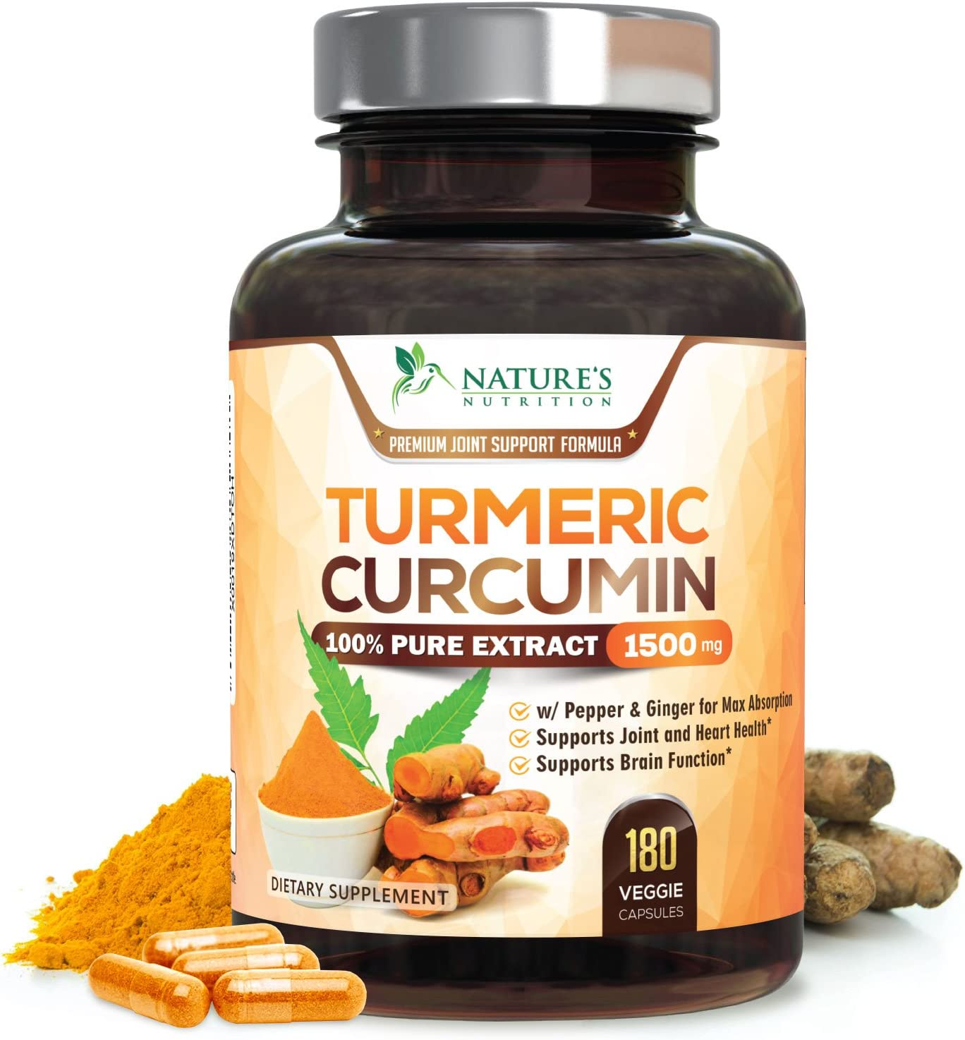 Turmeric Curcumin 100 Pure Extract 95 Curcuminoids with Bioperine Black Pepper for Best Absorption, Best Joint Pain Relief, Made in USA, Turmeric Pills by Natures Nutrition – 180 Capsules