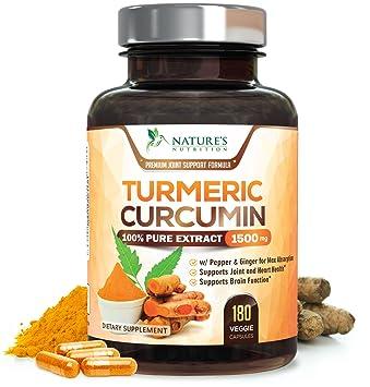 Turmeric Curcumin 100% Pure Extract 95% Curcuminoids with Bioperine Black  Pepper for Best