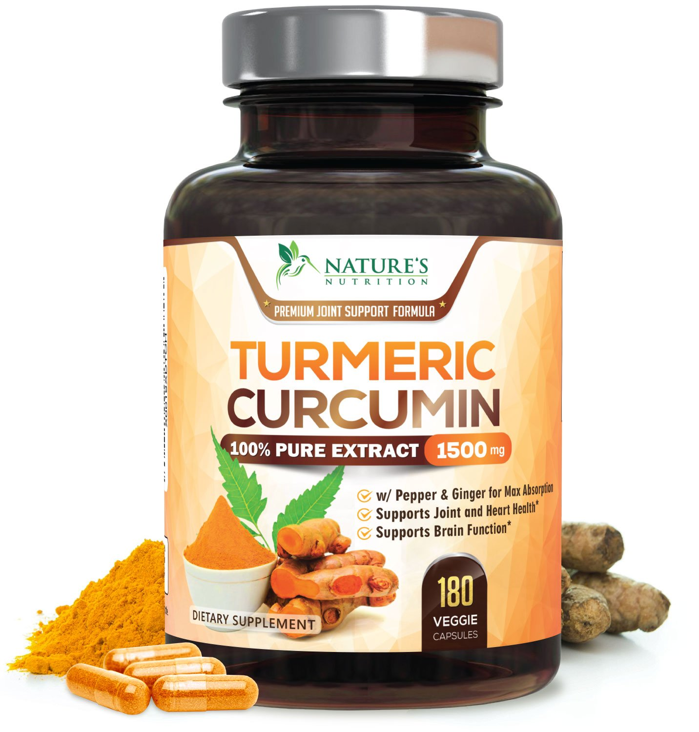 Turmeric Curcumin 100% Pure Extract 95% Curcuminoids with Black Pepper & Ginger for Best Absorption, Anti-Inflammatory Joint Relief, Turmeric Supplement Pills, by Nature's Nutrition - 180 Capsules
