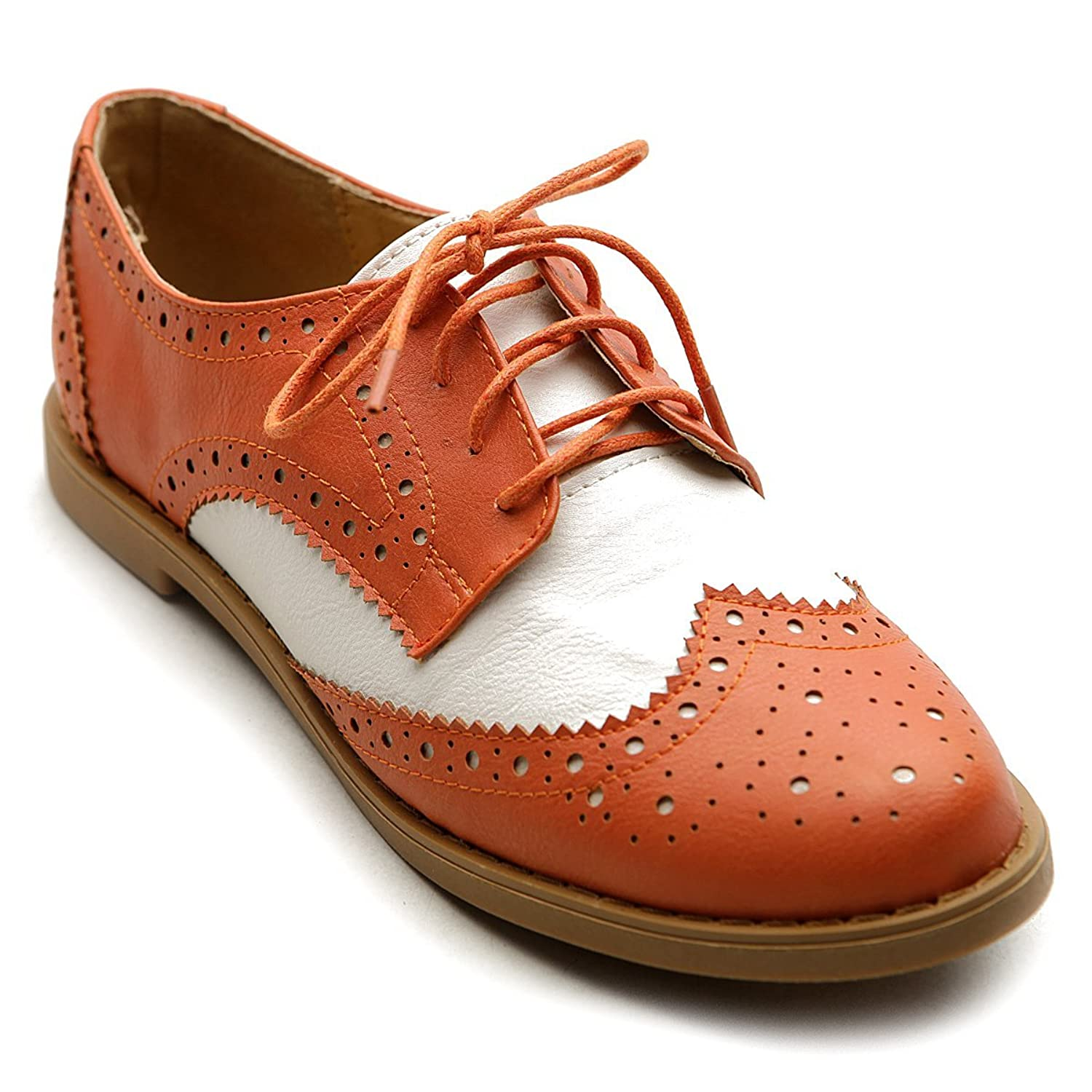 1940s Style Shoes Ollio Womens Flat Shoe Wingtip Lace Up Two Tone Oxford  AT vintagedancer.com