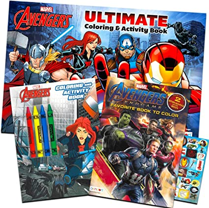 Amazon Com Marvel Avengers Coloring Book Super Set With Crayons 3 Jumbo Books Featuring Captain America Thor Hulk Iron Man And More Toys Games