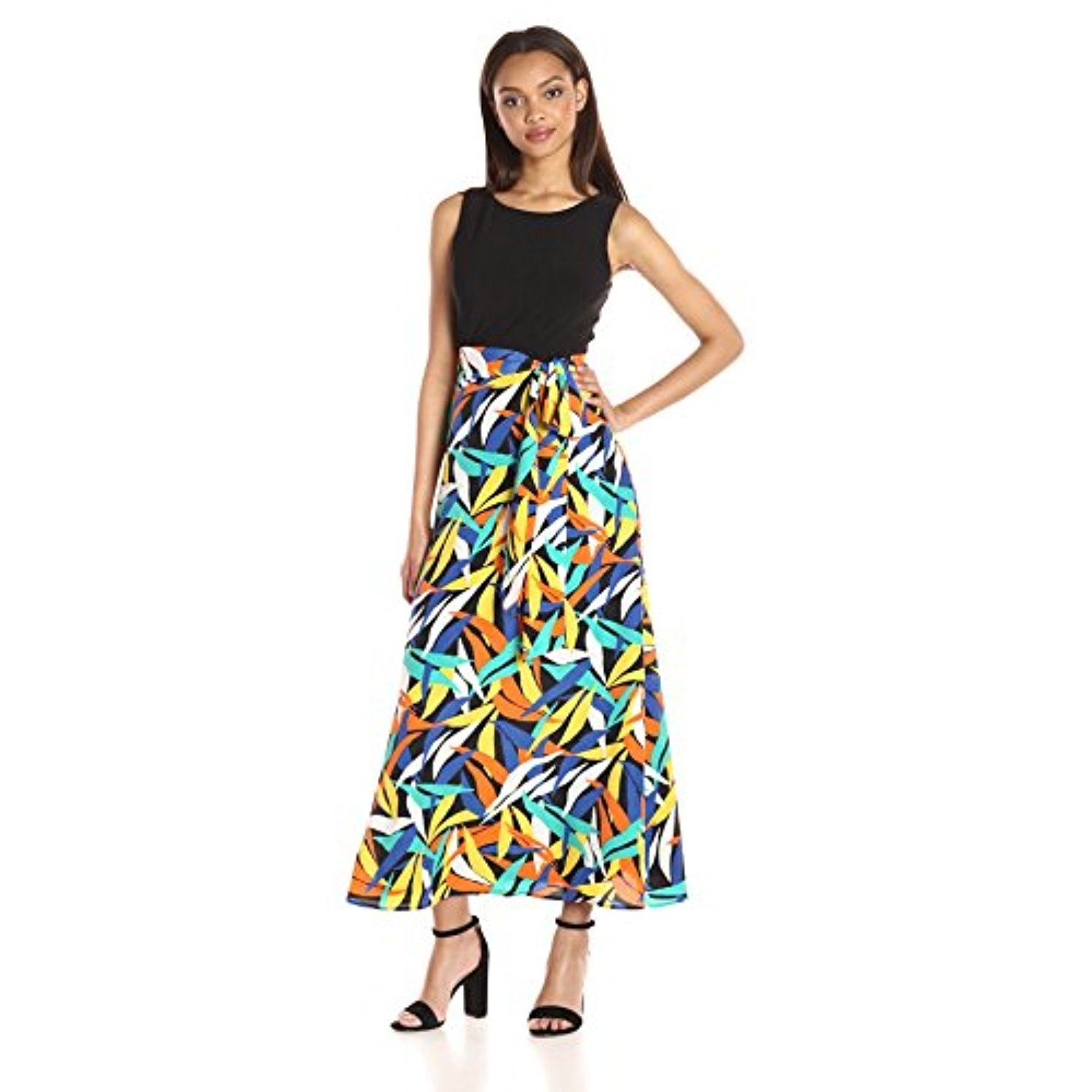 Nine West Womens Maxi Length Dress with Tie at Waist