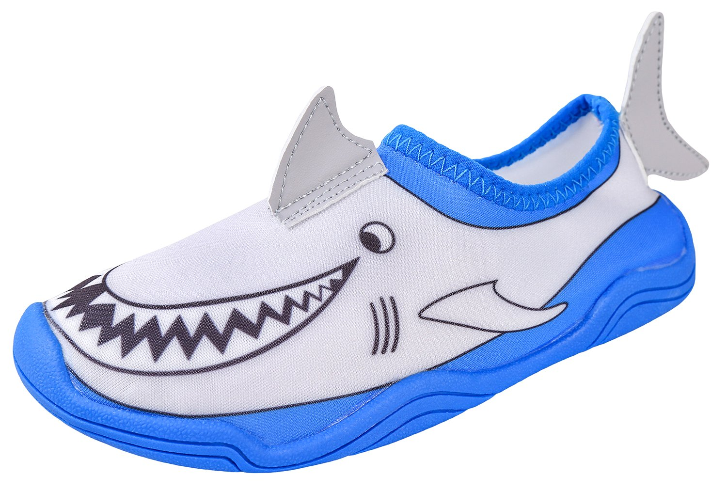 Lil' Fins Water Pals Kid Shoes | Beach | Summer Fun | Water Shoes | Quick Dry | Swim Shoes | Shark 2D/3D Fins 1/2