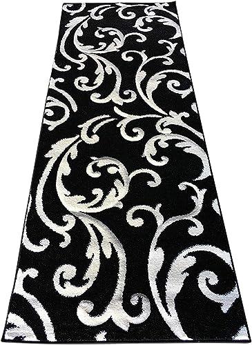 Modern Area Rug Runner Black White Design 290 31in.x7ft