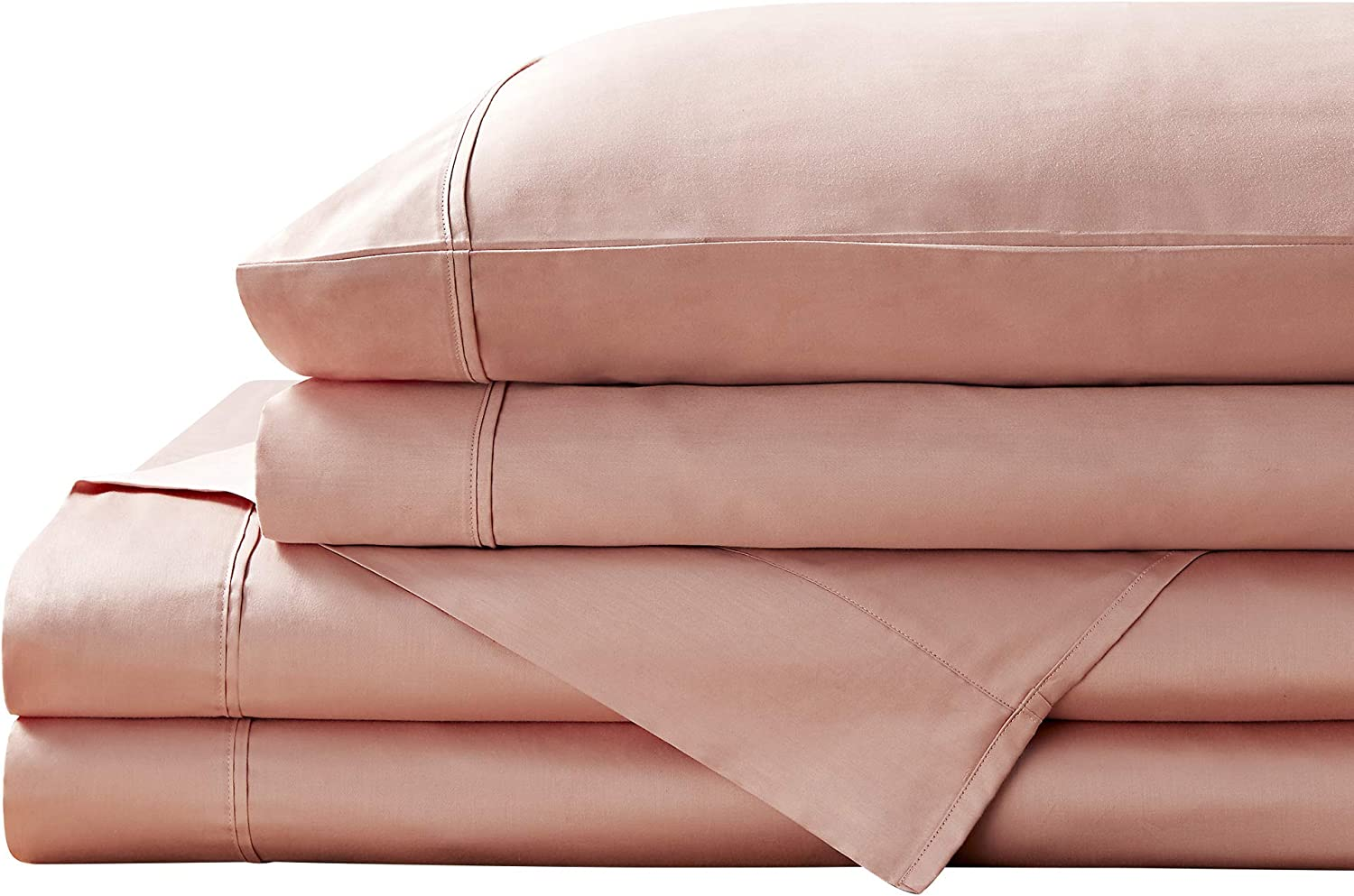 Brielle Home 400 Thread Count Solid 100% Cotton Sateen Sheets Collection, Twin, Rose
