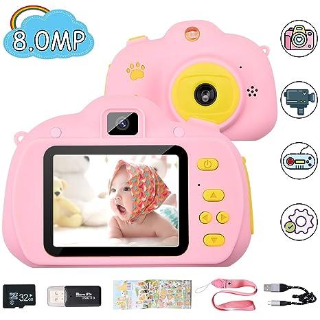 Chuanghongyuan Cámara de Fotos para Niños con Juegos,32GB Tarjeta SD y Acollador,Cámaras Fotos Infantil Digitales Selfie,1080P HD Video con Pantalla ...