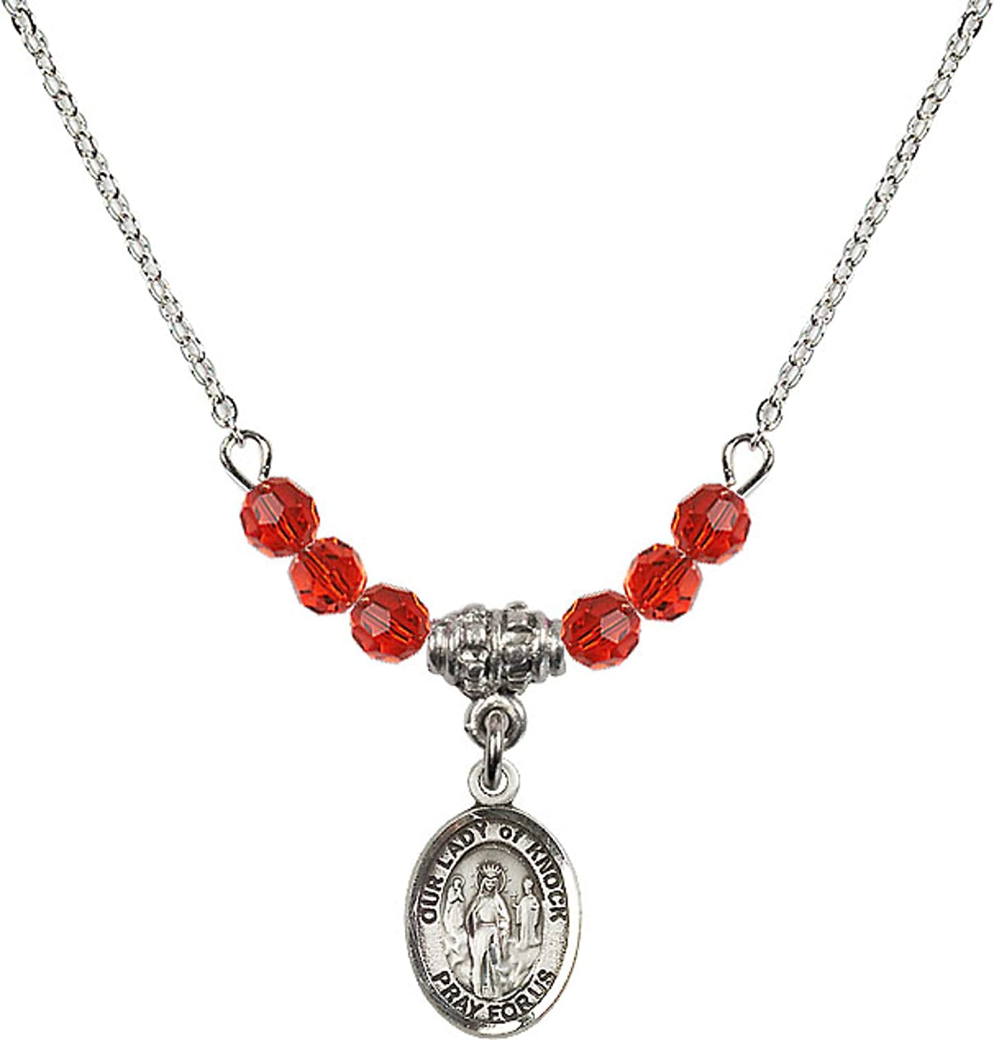 Bonyak Jewelry 18 Inch Rhodium Plated Necklace w// 4mm Red July Birth Month Stone Beads and Our Lady of Knock Charm