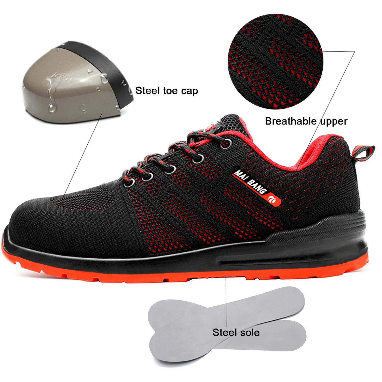 tqgold/® Chaussure de S/écurit/é Homme Femme Basket de Travail avec Embout de Protection en Acier Legere Respirant