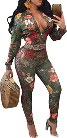 2 Piece Outfits for Women Pants Sets Floral Print Long Sleeve Tracksuits Jumpsuits