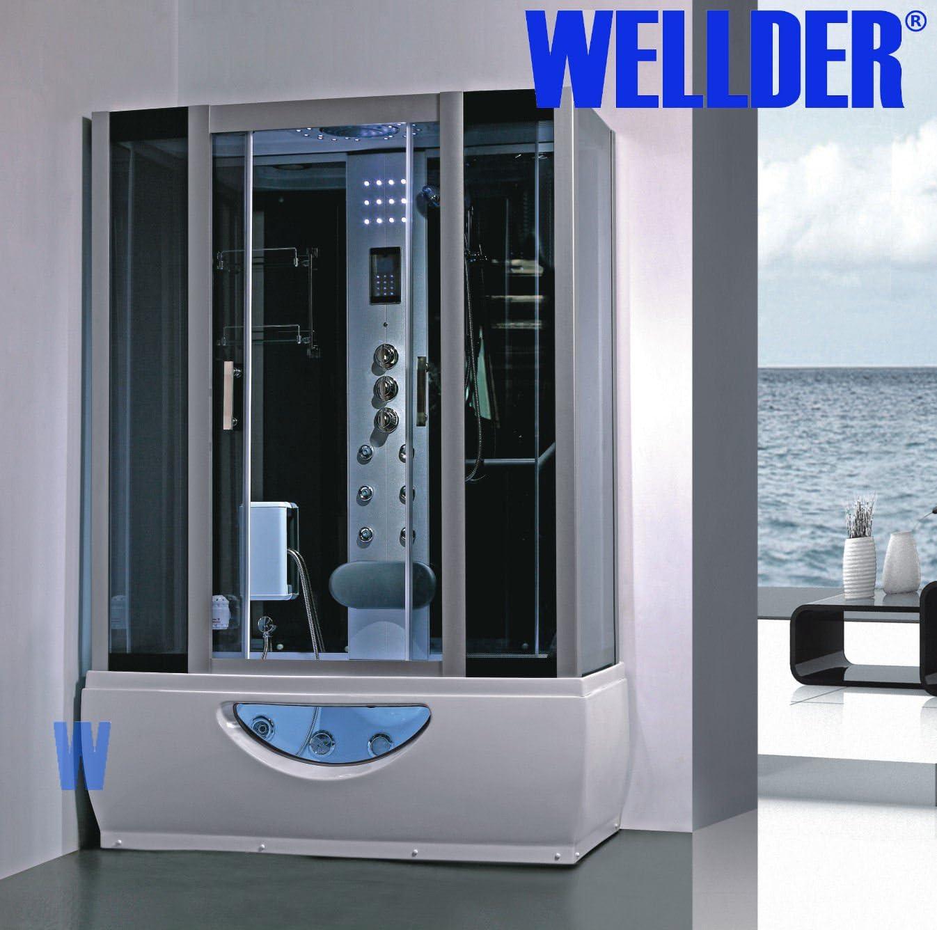 Cabina de ducha de para bañera, spa, hidromasaje, sauna, radio, cromoterapia, jacuzzi, 167 x 85 cm: Amazon.es: Hogar