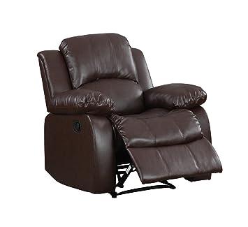 Divano Roma Furniture Classic Bonded Leather Recliner Chair Brown  sc 1 st  Amazon.com & Amazon.com: Divano Roma Furniture Classic Bonded Leather Recliner ... islam-shia.org