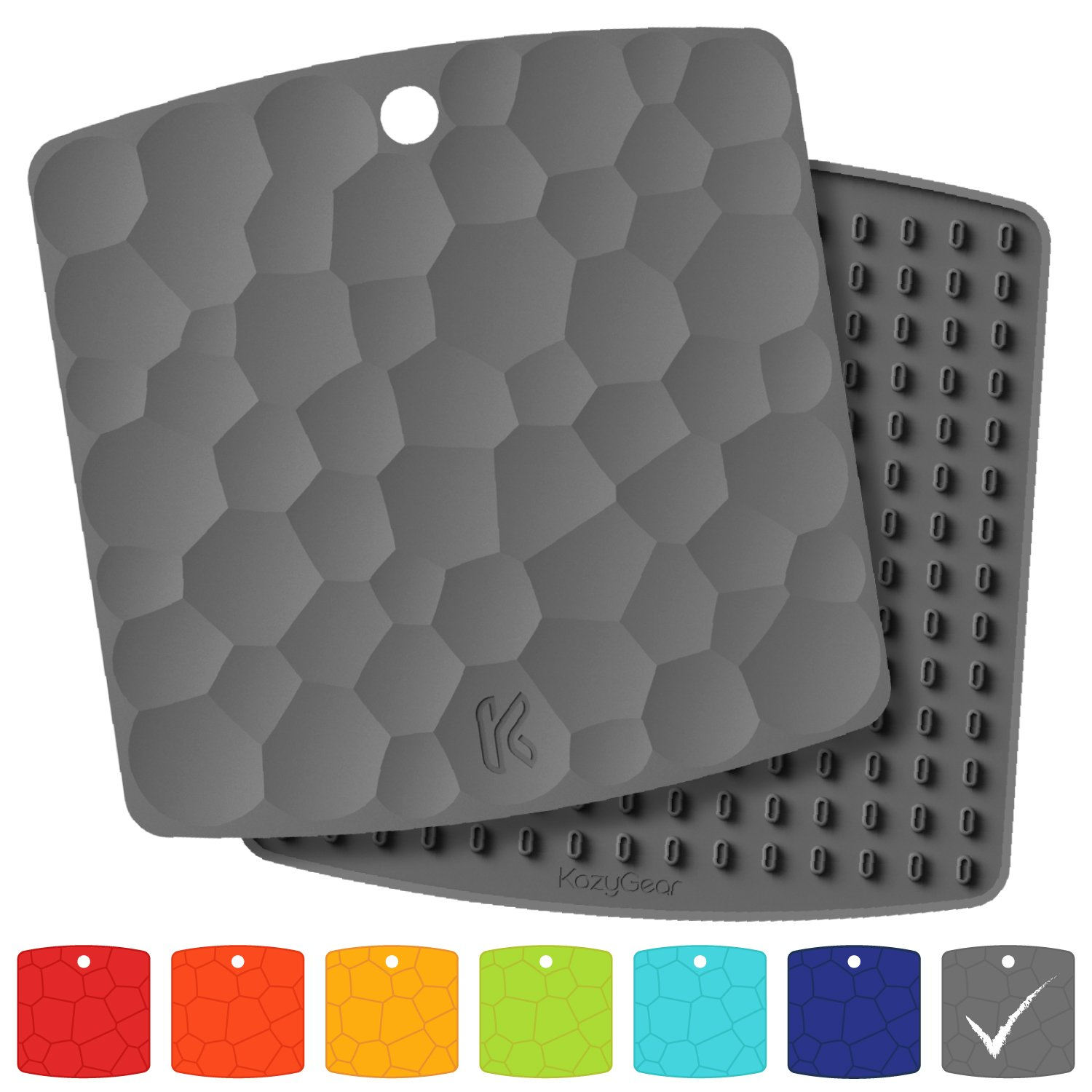 KozyGear 2 sets of 7'' x 7'' Silicone Trivet Mats, Hot Insulation Pads, Hot Pan Pot Holder, Bottle/Jar Opener, Heat Resistant To 442 °F For Oven - Non-Slip, Flexible, Waterproof [Z3 - Series] (GREY) by KozyGear