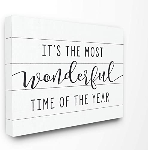 The Stupell Home D cor Collection Holiday Most Wonderful Time of The Year Black and White Typography Stretched Canvas Wall Art, 30 x 40, Multi-Color