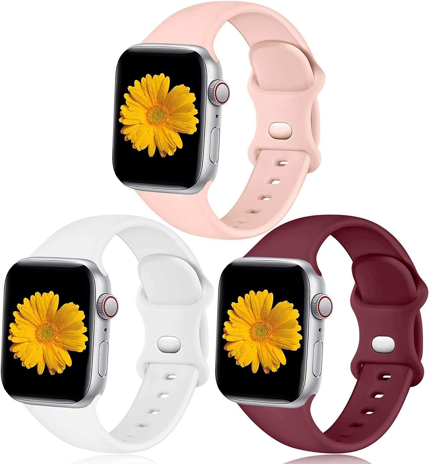 Easuny Sport Band Compatible with Apple Watch 40mm 38mm Women Men - Sport Silicone Wristbands Strap Replacement Accessories for iWatch Series 6/5/4/3/2/1,3 Pack
