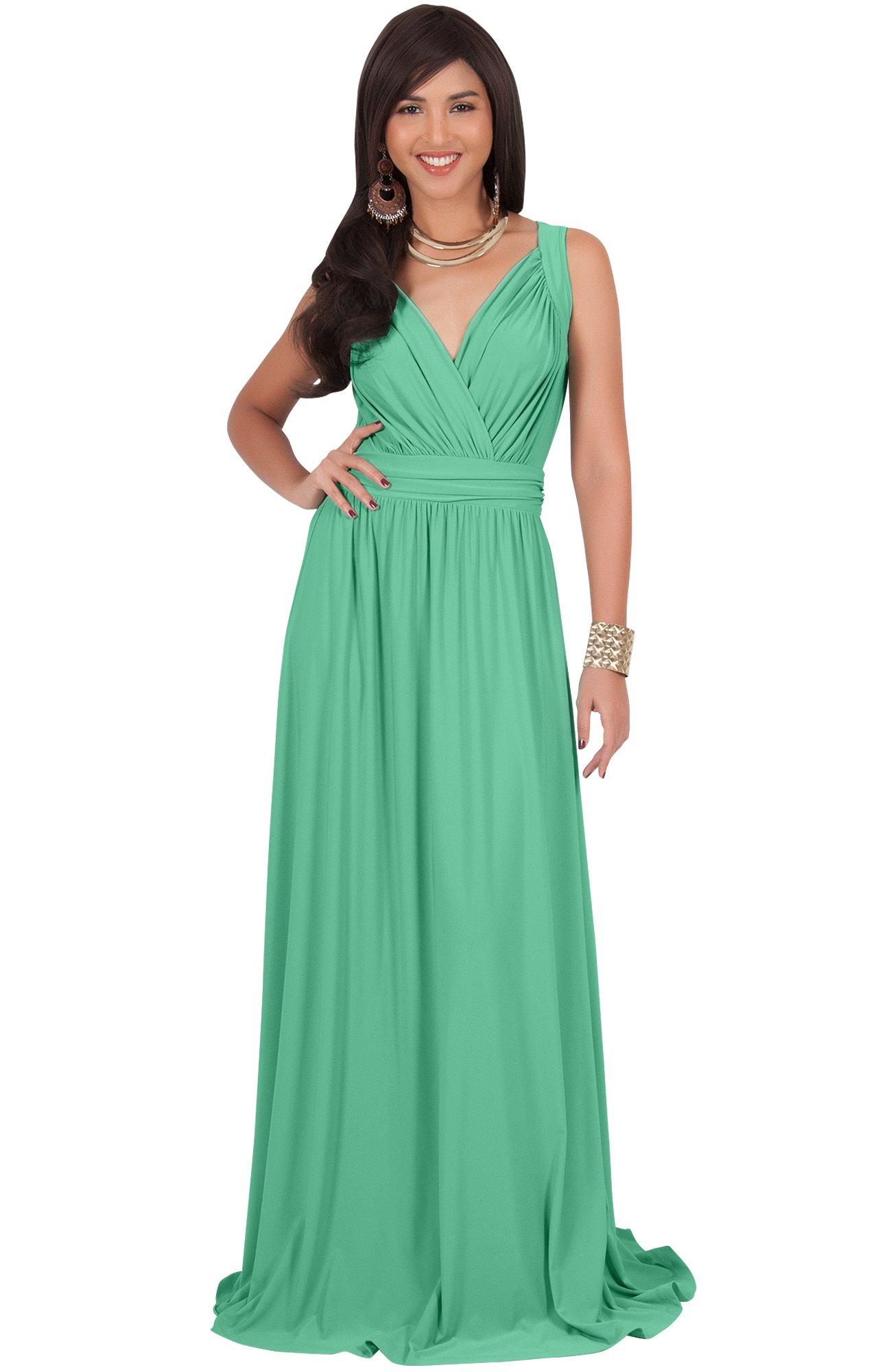KOH KOH Womens Long Sleeveless Flowy Bridesmaids Cocktail Party Evening  Formal Sexy Summer Wedding Guest Ball Prom Gown Gowns Maxi Dress Dresses f9deb1a4e