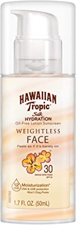 Hawaiian Tropic Silk Hydration Weightless Sunscreen Face Lotion, Broad-Spectrum Protection, SPF