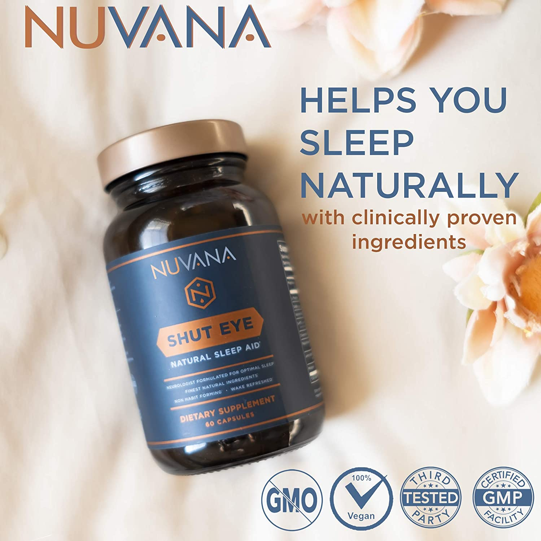 Shut Eye Sleep Aid   Natural Herbal Sleep Supplement Made with Valerian  Root, Melatonin, Chamomile,
