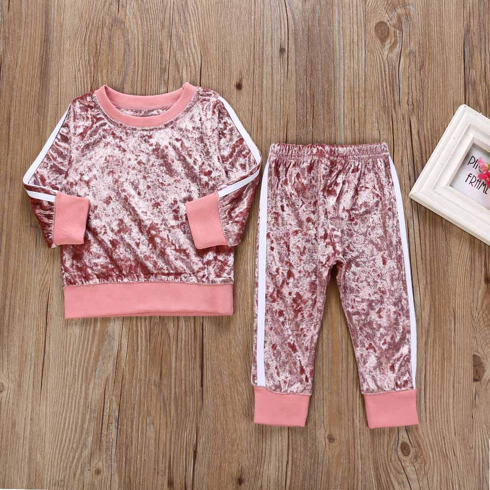 Pants Set Toddler Kids Baby Girls Outfits Fleece Long Sleeve Solid Color Sweatshirt Top