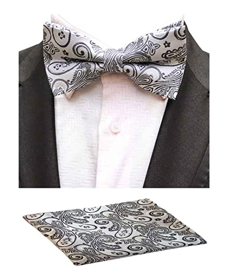 e966348a71ac Amazon.com: MOHSLEE Men White Paisley Pre-Tied Bowtie Wedding Suit Bow Tie  Pocket Square Set: Clothing