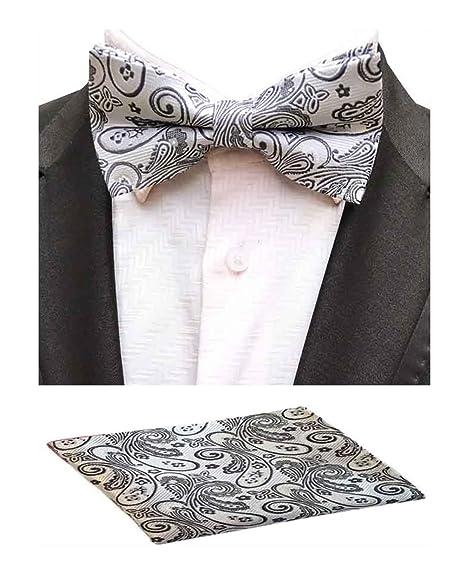 a77cff08602 Amazon.com  MOHSLEE Men White Paisley Pre-Tied Bowtie Wedding Suit Bow Tie  Pocket Square Set  Clothing