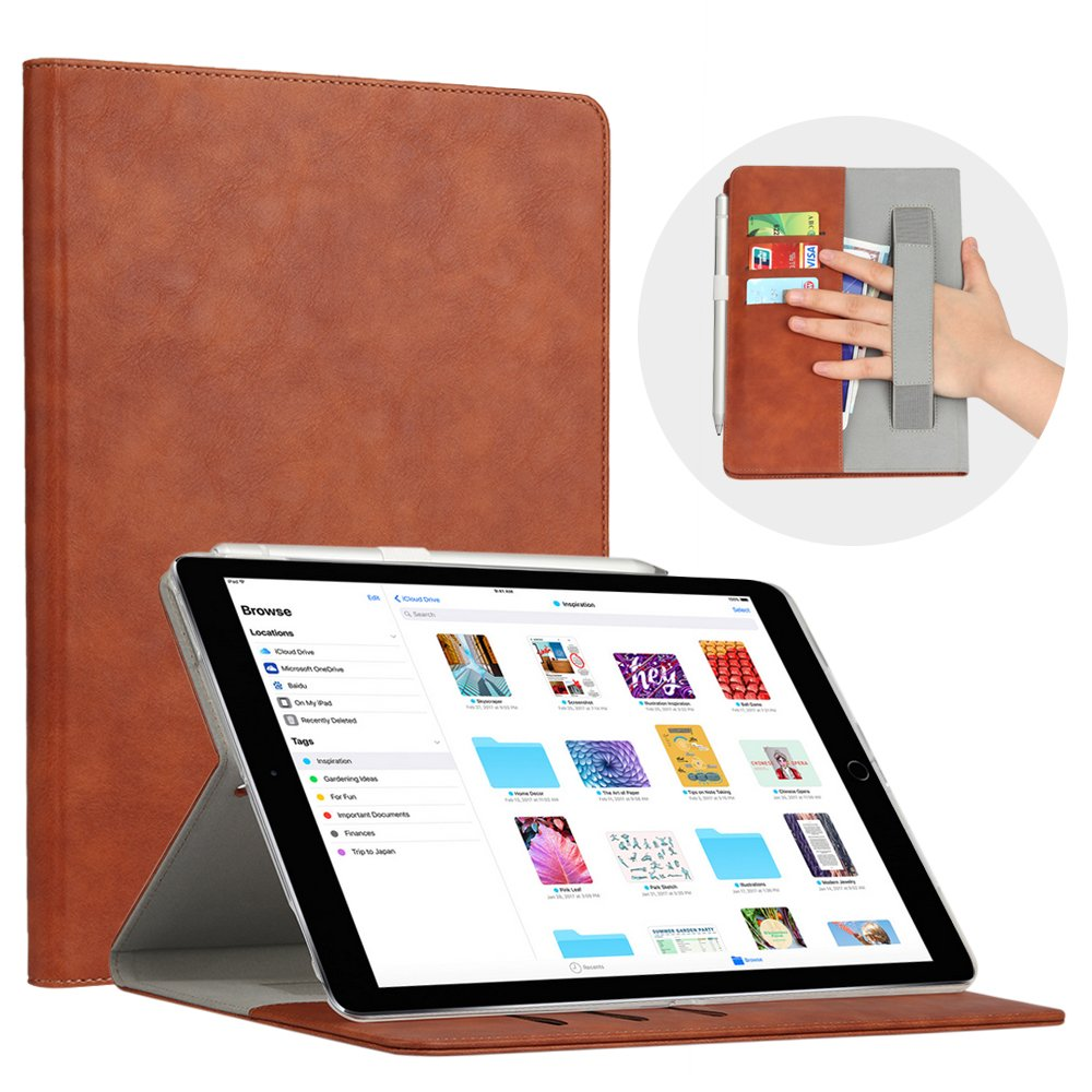 iPad Pro 10.5 Case, iPad Pro 10.5 Smart Case, Simicoo Premium PU Leather Folio Book Cover Multi Function simplify Design business Sleep/Wake up Case with Card Cash Slot for iPad Pro 10.5 inch (Brown)