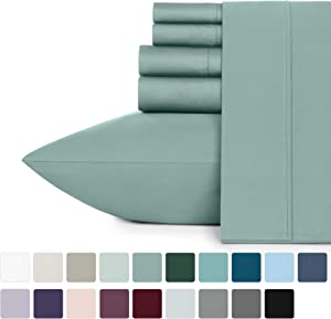 400-Thread-Count Queen Size Green Sage Sheet Set - 100% Long Staple Combed Cotton 6 Piece Bedding Set, Sateen Weave Bed Sheets, Comfortable Deep Pocket Fits Mattress 16 Inches