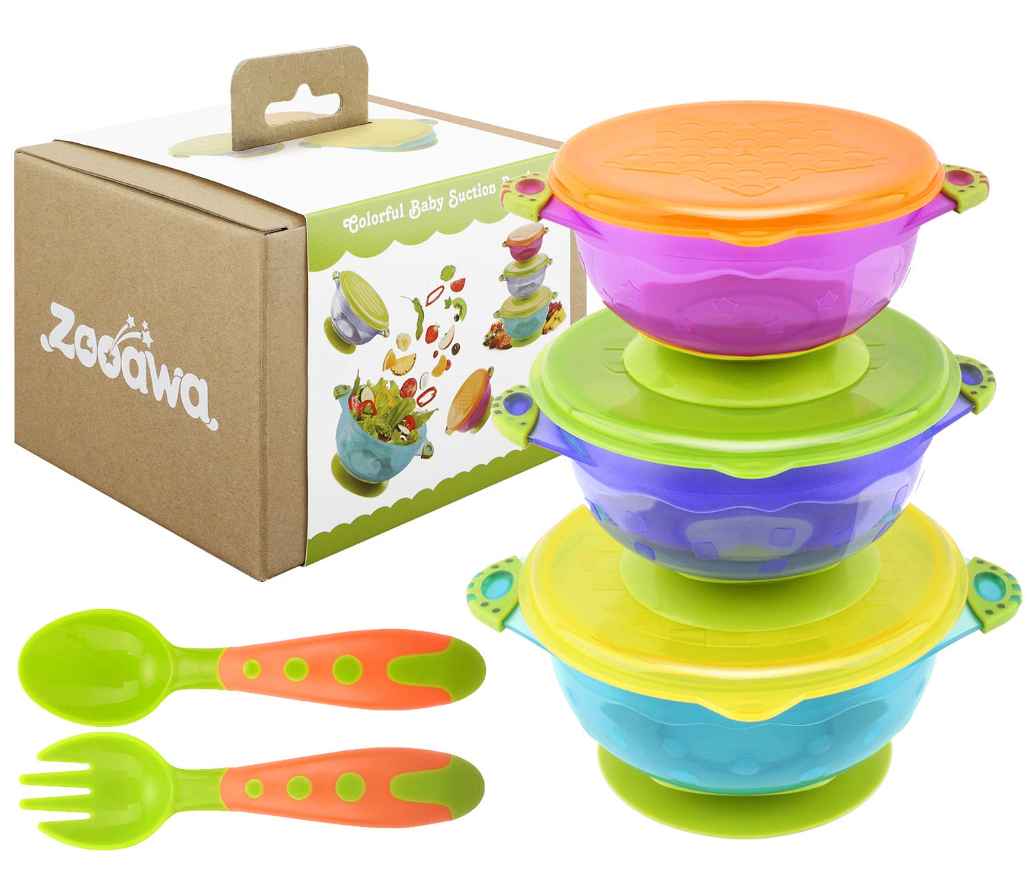 Zooawa Baby Suction Bowls + Fork Spoon Set, 3-Pack Different Size Nonslip Spill Proof Feeding Bowls with Feeding Spoon and Fork Cutlery Travel Set Training Utensils for Infant Toddler, BPA-Free by Zooawa