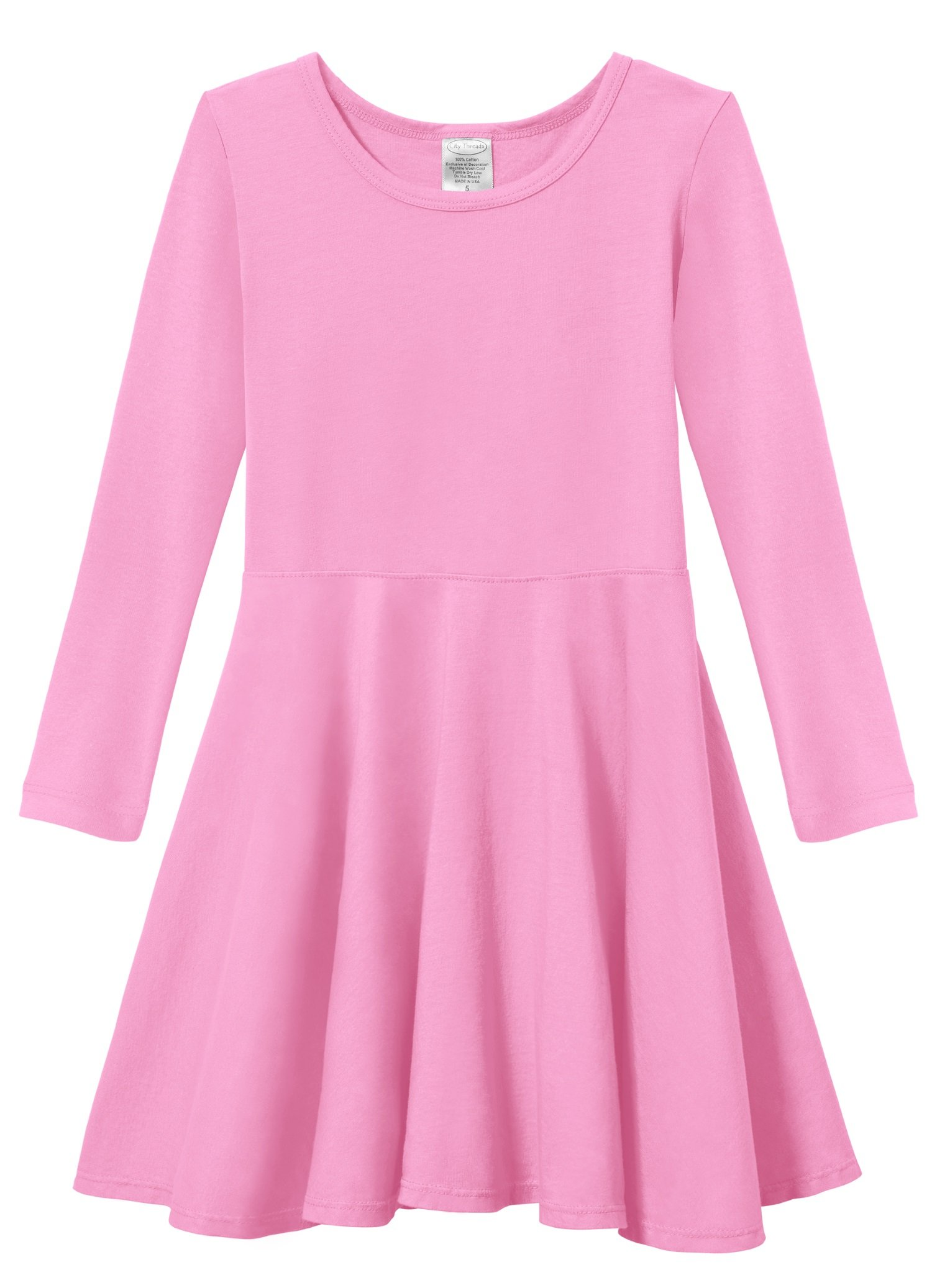 City Threads Little Girls' Super Soft Cotton Long Sleeve Twirly Skater Party Dress, Medium Pink, 4T