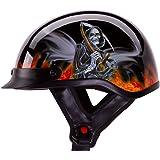 "IV2 ""REAPER"" Chopper, Cruiser, Beanie, Half Helmet Matte/Flat Black Motorcycle Helmet [DOT] (XL)"