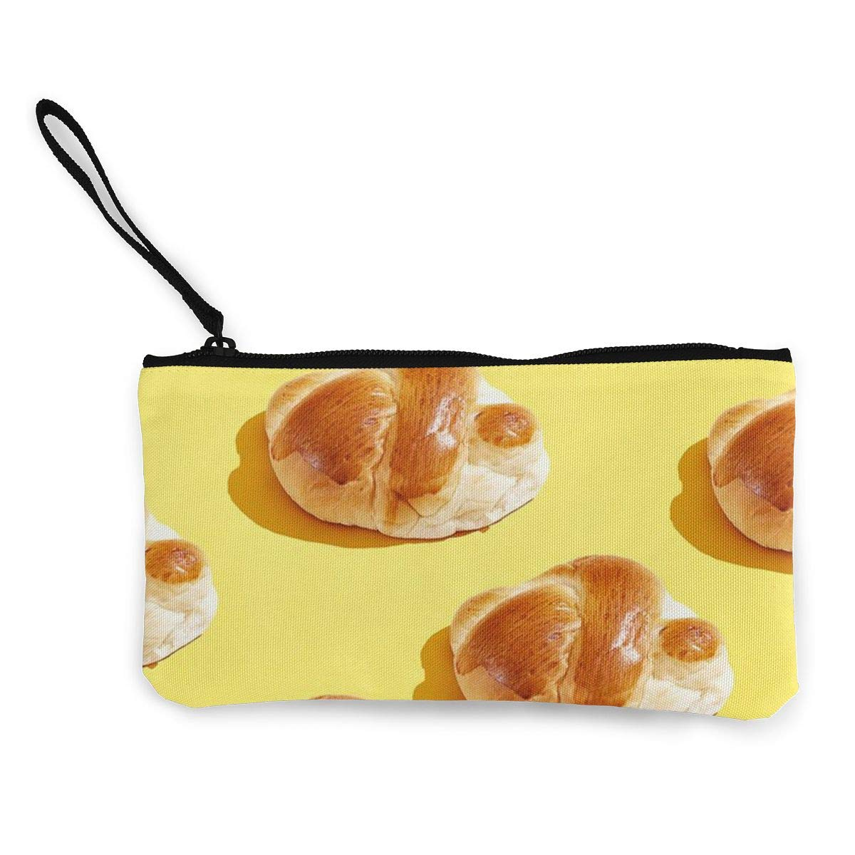 Cellphone Bag With Handle Make Up Bag TR7FD15DE Yummy French Croissant Pattern Zipper Canvas Coin Purse Wallet