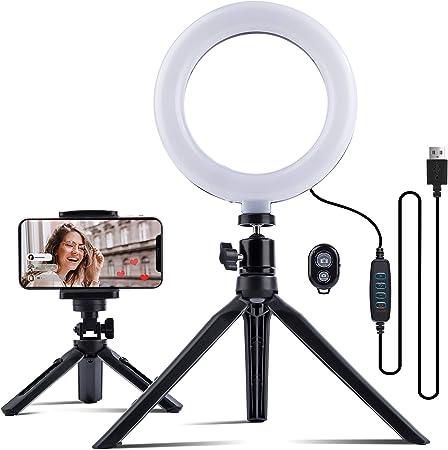 Todo para el streamer: Anillo de luz LED MUSON de 16 cm, 3 Modos y 11 Luces de Brillo Ajustables, Iluminación de Trípode, Receptor Bluetooth para Teléfono Inteligente, TikTok, Grabación de Video de Autorretrato de Youtube