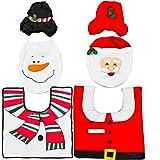 Set da 2 Decorazioni per l'Asse Tavoletta del Cesso WC Toilette (2 set differenti) Per un Bagno Divertente, Porta Fazzoletti e Copri Tavoletta, Tappetino, a Tema Pupazzo di Neve e Babbo Natale