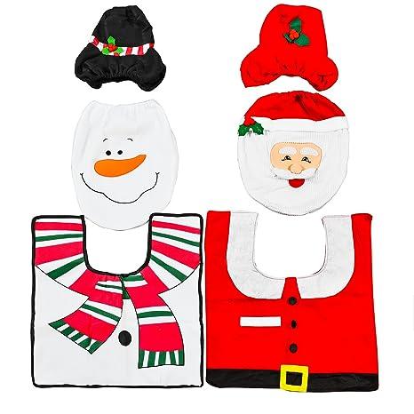 2 Sets Diferentes Decoraciones de Navidad Para Baño – Adorno Navideño para Inodoro - Accesorio,
