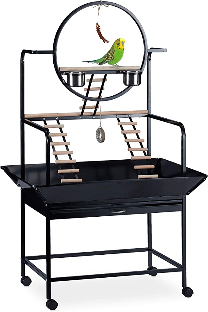 Relaxdays, 170x100x80 cm, Negro Jaula XL, Escalera para pájaros, Percha, Acero-Madera-Plástico