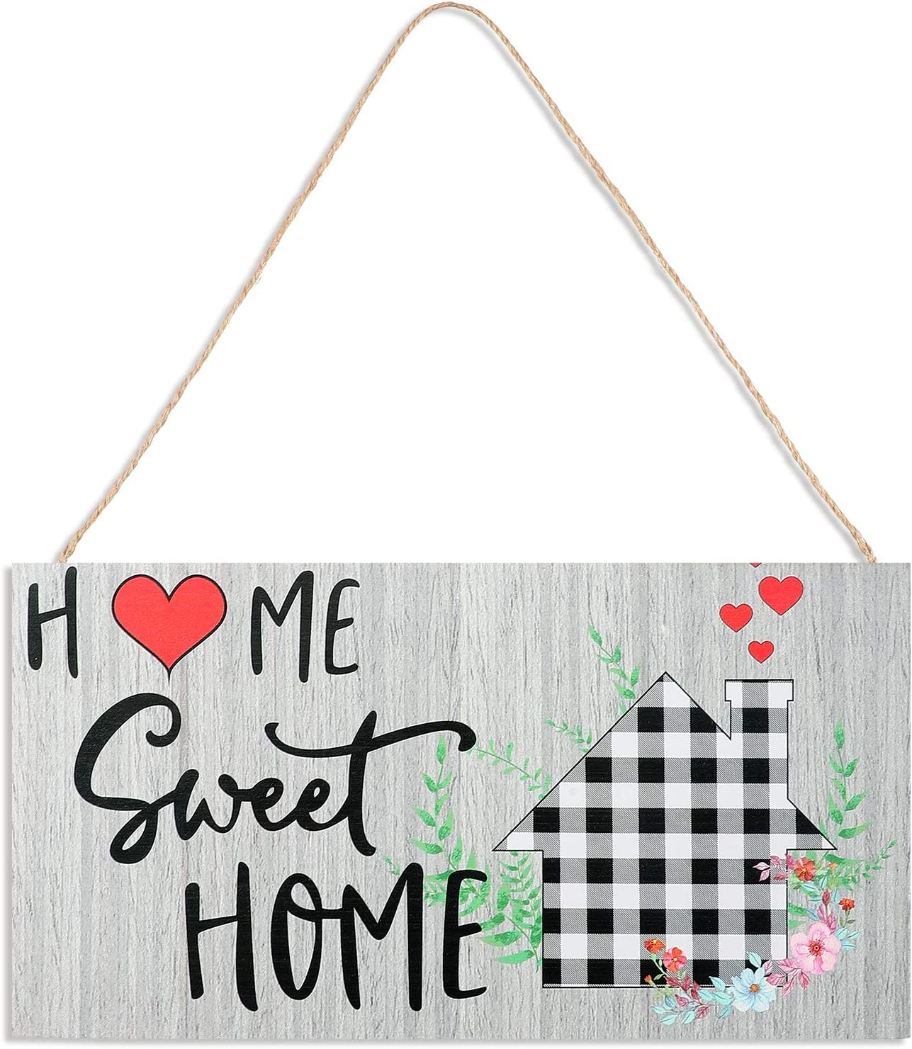 Welcome Sign Front Door Decor Home Sweet Home Sign Rustic Sweet Home Decor Wood Sign Hanging Pallet Wood Sign Porch Decor for Farmhouse Home Decor (11.8 x 6.1 Inch, Light Gray)