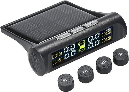 Solar TPMS Wireless Tire Pressure LCD Monitoring System+4 External Sensors NEW E