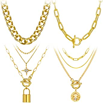 4PCS Gold Layered Chain Necklace set for Women Girls Boho Choker with Lock Coin Pendant Dainty Initial Necklaces Chunky Curb Link Paperclip Jewelry for Gift