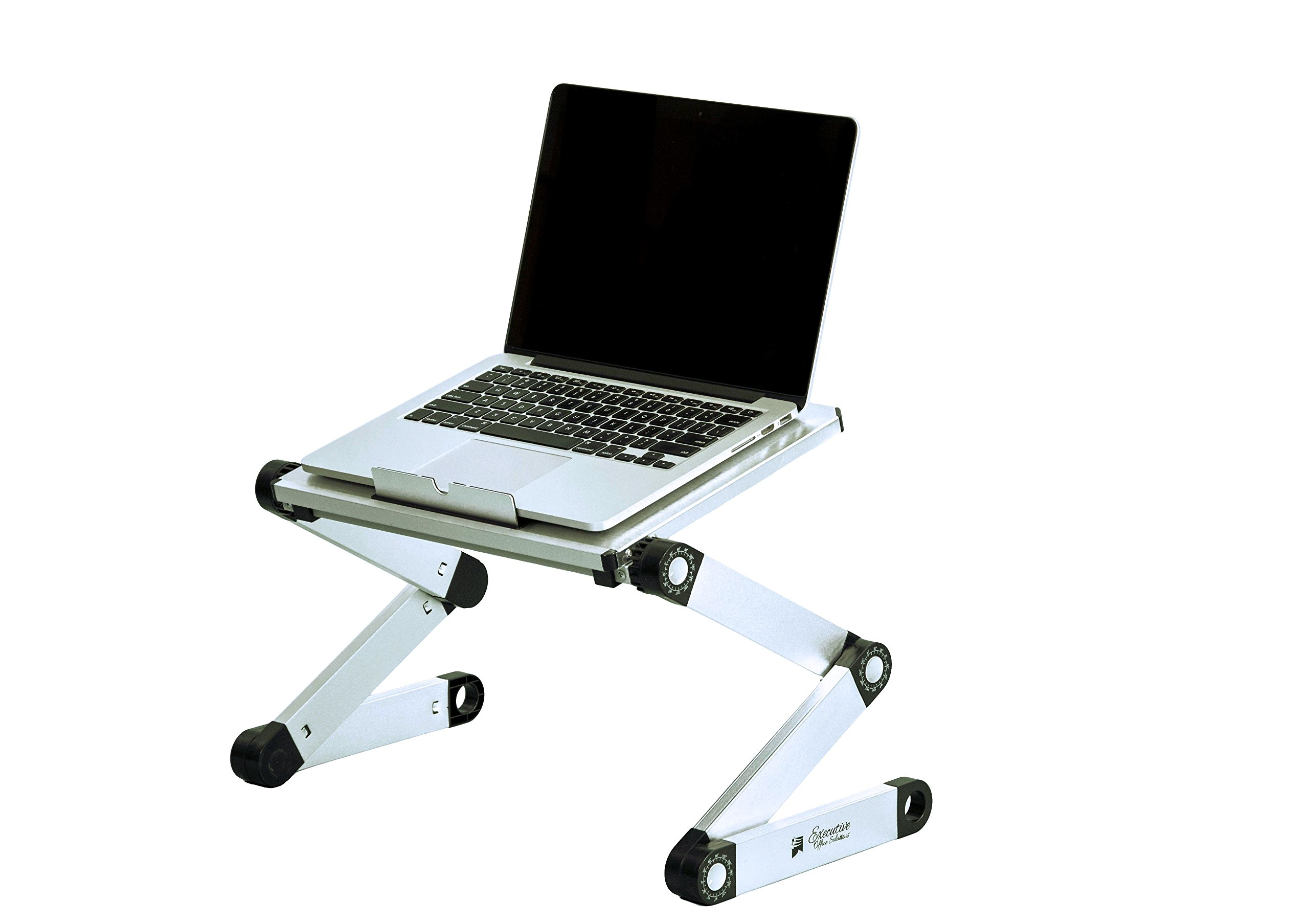 Portable Adjustable Aluminum Laptop Desk/Stand/Table Vented Notebook-Macbook-Ultra Light Weight Ergonomic TV Bed Lap Tray Stand Up/Sitting-Silver