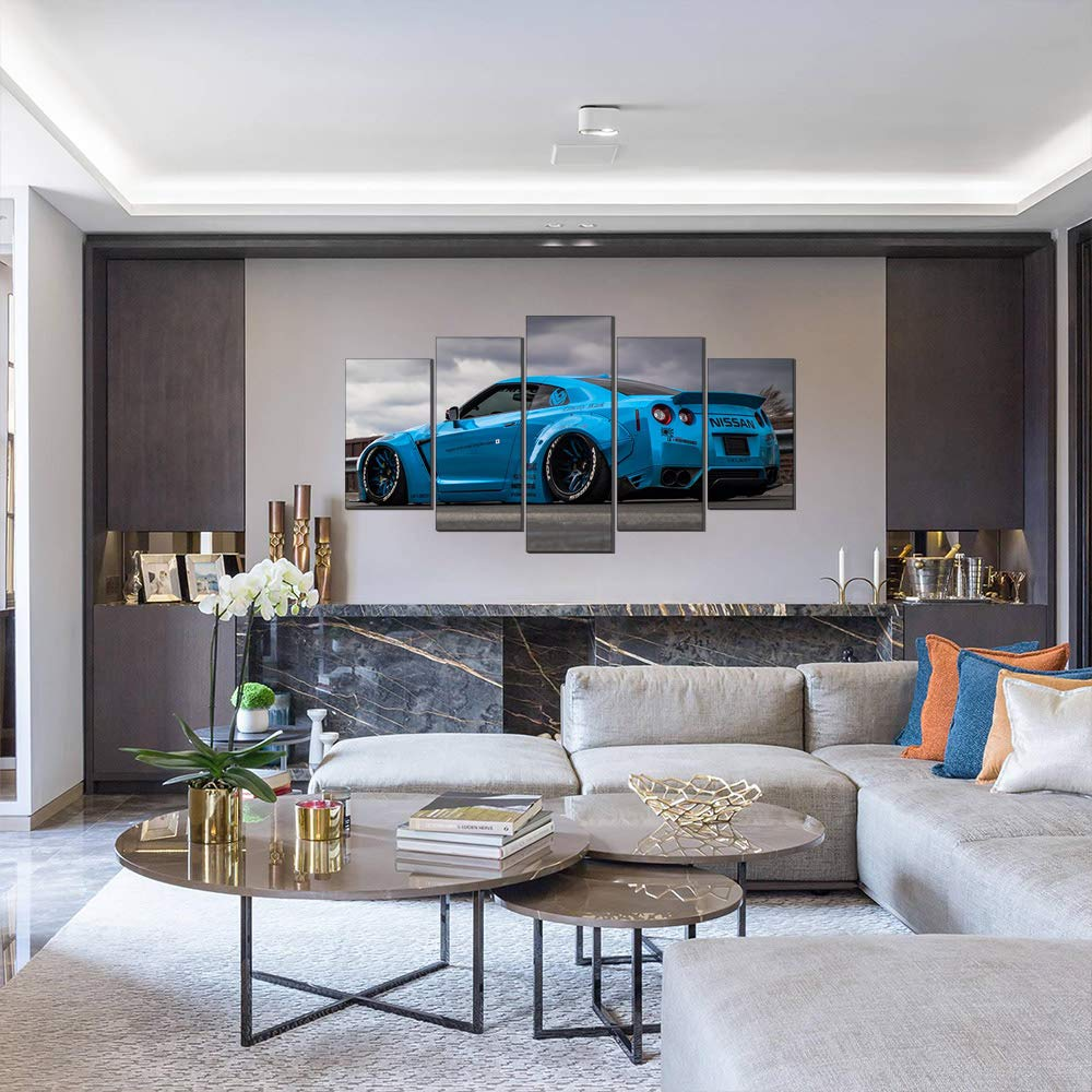 Kein Rahmen,50 x 100 cm Five-Seller 5 Panels Blau Nissan GT-R R5 R6 Sportwagen Leinwand /Ölgem/älde Wandkunst Bild Leinwand Kunstwerk F/ür Wohnkultur