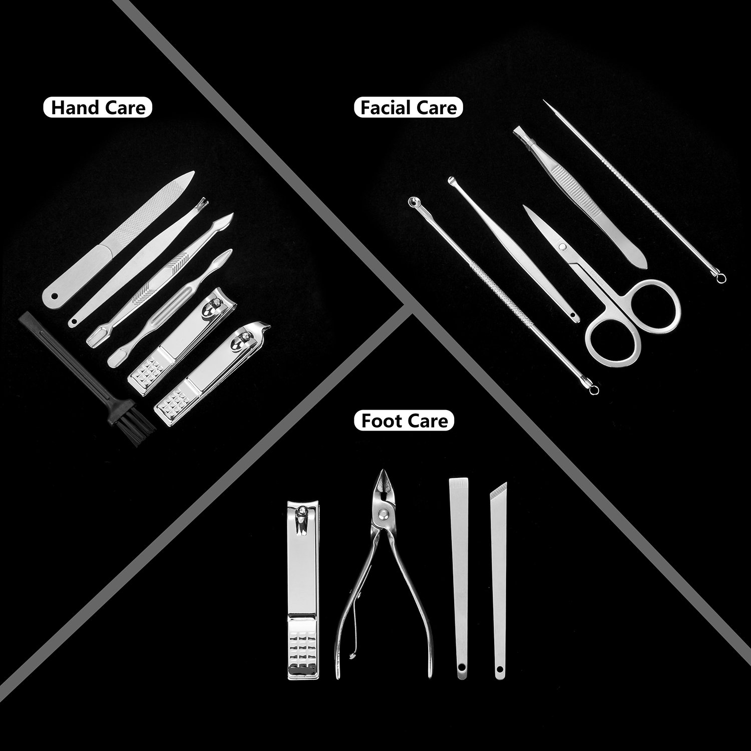 Manicure Pedicure Set Nail Clippers - Corzyaya 16 In 1 Professional Stainless Steel Nail Scissors Grooming Kit with Black Leather Travel Case