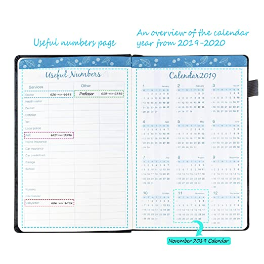 Planner 2019 Organizer with Pen Holder - Academic Weekly, Monthly Planner,Best Agenda & Shopping List to Achieve Work ,Life Balance,Improve ...