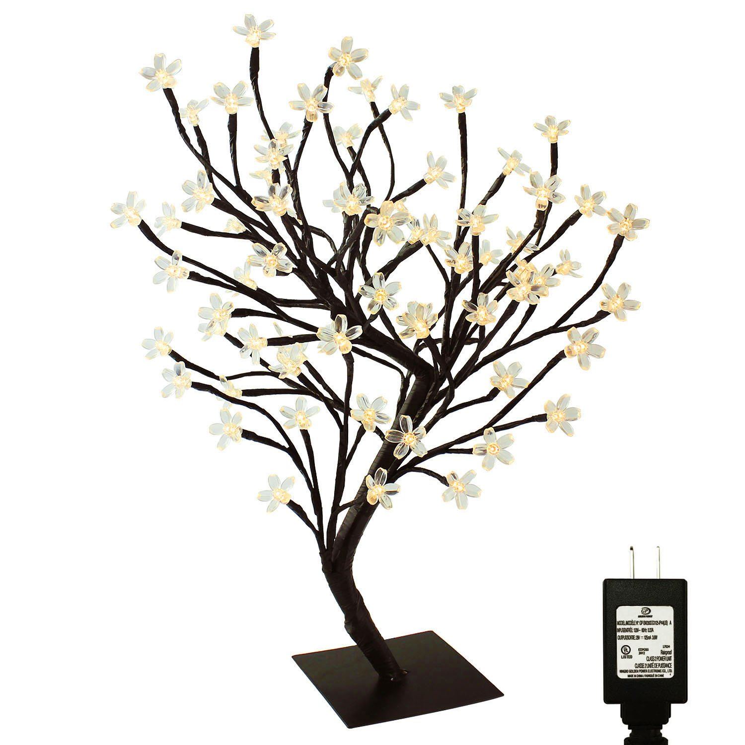 PMS 17inch 72 LEDs Cherry Blossom Desk Top Bonsai Tree Light with Low Voltage Transformer, UL Listed, Ideal for Christmas, Party, Wedding, Ceremony, Celebration Decoration(Warm White) by Pms