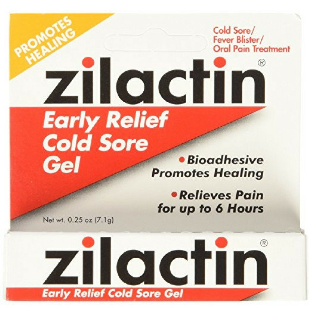 Zilactin Cold Sore Gel, Medicated Gel 0.25 oz ( Pack of 3)
