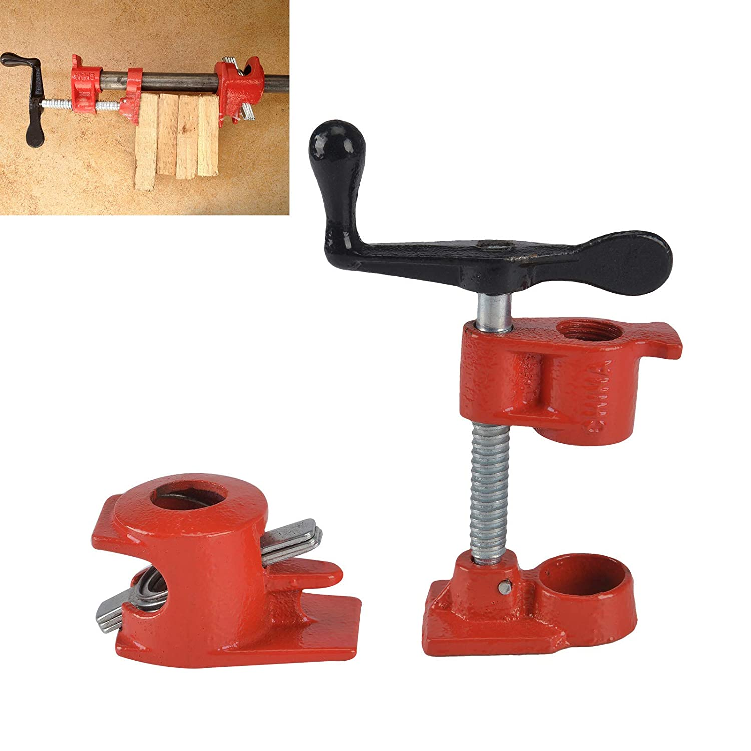 PetHot 1/2' Heavy Duty Cast Iron Pipe Clamp for Wood Gluing Woodworking Clamping JY